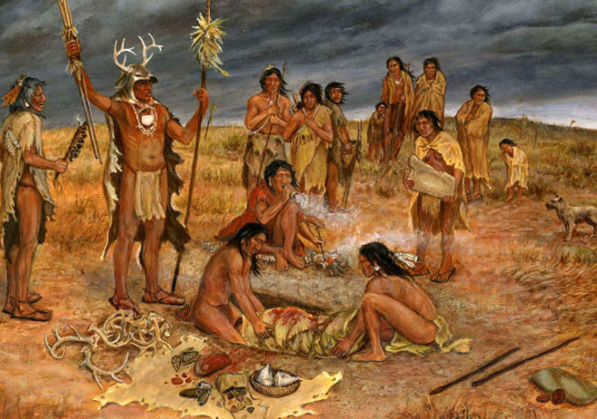 A burial party lays a loved one to rest at Loma Sandia, about 2700 years ago. This interpretive painting by TBH artist Frank Weir accurately depicts some of the archeological evidence documented at th